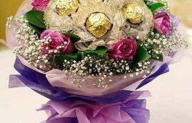 Ferrero Rocher Rose Bouquet باقة ورود مع شوكولا فيريرو روشيه