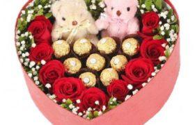 Ferrero Flower Bouquet with Teddy Bears باقة ورود مع شوكولا فيريرو ودببه