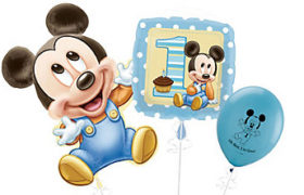 Mickey Mouse 1st Birthday Balloons بالونات ميكي ماوس مولود جديد للأولاد
