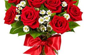 Red Roses with Jasmin Bouquet باقة الجوري الأحمر والياسمين