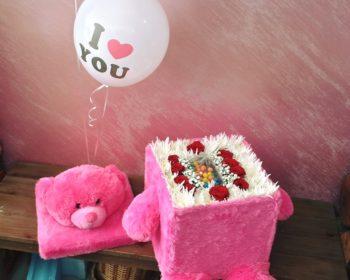 Flower Filled Teddy Bear Box with m&m's دب محشو بالورود وشوكولا