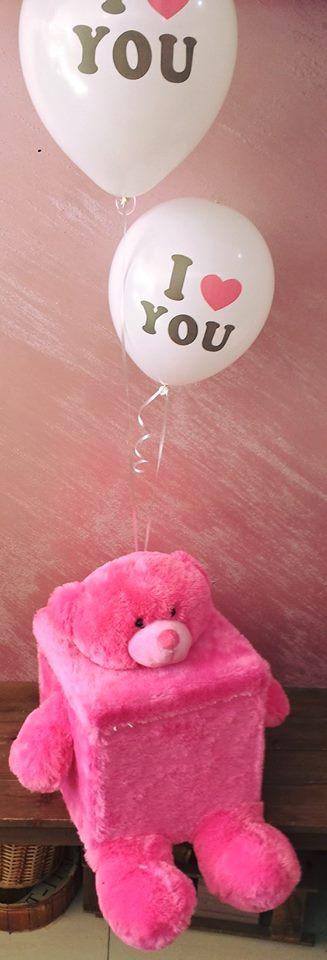Flower Filled Teddy Bear Box with m&m's دب محشو بالورود وشوكولا Flower Filled Teddy Bear Box with m&m's دب محشو بالورود وشوكولا