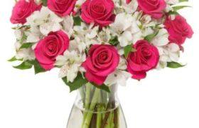 Alstro w/ Pink Roses Bouquet بوكيه السترو مع زور وردية