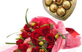 Roses Bouquet with Ferrero Chocolate باقة روز مع مع شوكولا فريرو