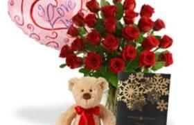 Love Roses n Bear with Chocolate زهور الحب و دبدوب مع شوكولا