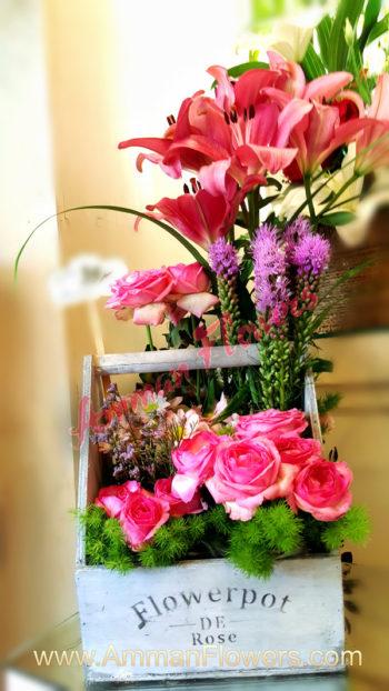 Pink Flowers Pot سلة ورود وردية بوت