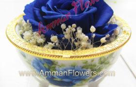 Blue Immortal Flower w/Antique Box الورده الاسطورية الزرقاء مع علبة انتيك (لا تذبل)