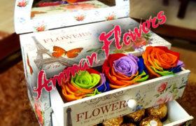 Immortal Flowers Box with Chocolate بوكس الورود الأسطورية مع شوكولا