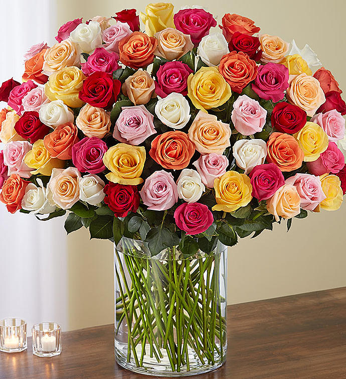100 Colored Roses Bouquet باقه 100وردة ملونه Amman Jordan Flowers ورود عم ان الأردن We Deliver Flowers Gifts Free توصيل مجاني للورود و الهدايا